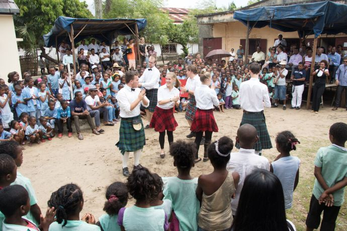 Madagascar: Toamasina, Madagascar :: The Scottish dancers perform at the newly renovated city library official opening. More Info