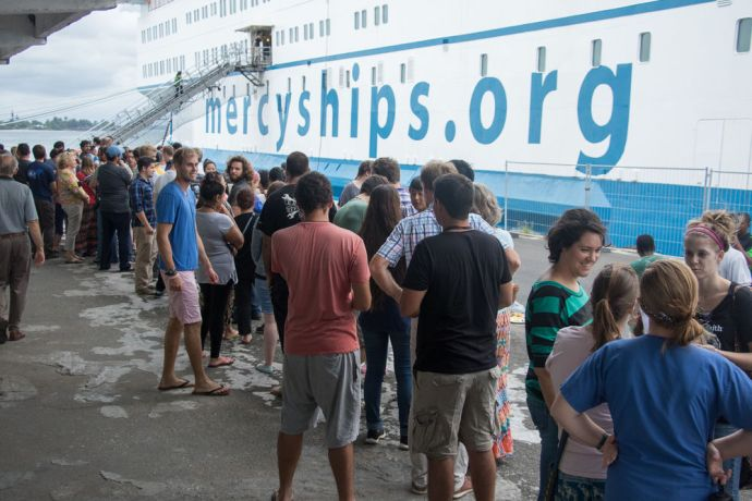 Madagascar: Toamasina, Madagascar :: The Logos Hope crew go to the Mercy Ships quayside for a barbeque. More Info