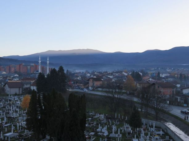 Bosnia & Hercegovina: Photo for country profile. View over city with graveyard on Olympic stadium. More Info