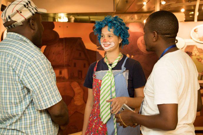 Tanzania: Dar es Salaam, Tanzania :: Femke Rutgers (Aruba) tells a story to visitors on the experience deck. More Info