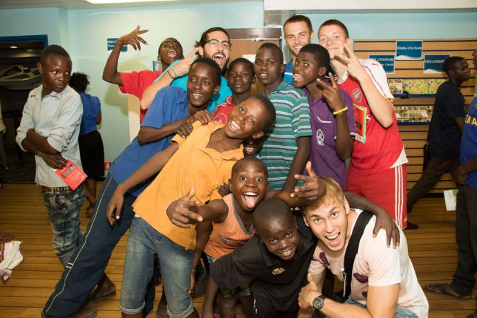 Tanzania: Dar es Salaam, Tanzania :: Marco Arjona (Argentina) and Jelle Koers (Netherlands) host street children. More Info