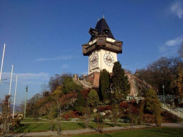 Austria: Uhrturm, Wahrzeichen von Graz /  Clock tower, landmark of Graz More Info