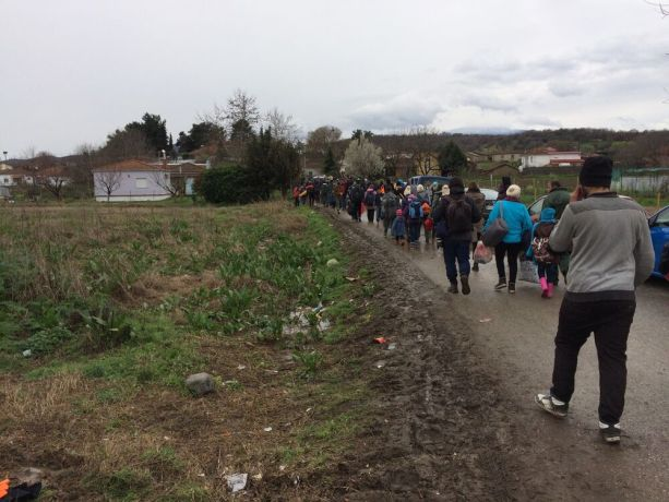 Macedonia: Refugees walking towards the closed Greek-Macedonian border, trying to get through. More Info