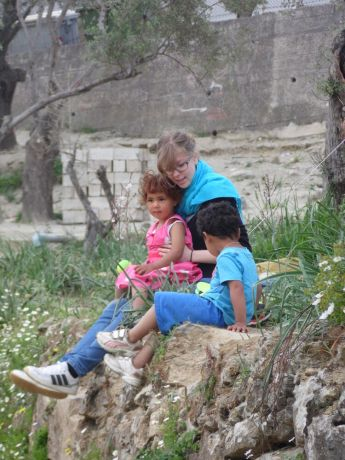 Greece: OM volunteers playing with refugee children on the Greek Island of Lesvos. More Info