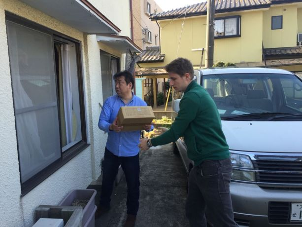 Japan: Off-loading relief goods at a church in Kumamoto with a pastor from the Tohoku Help network More Info