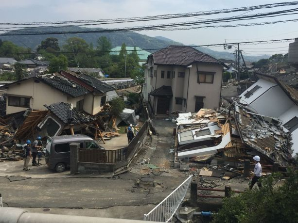Japan: Damaged houses in Mashiki town, one of the areas most devastated by the earthquake in Kumamoto More Info