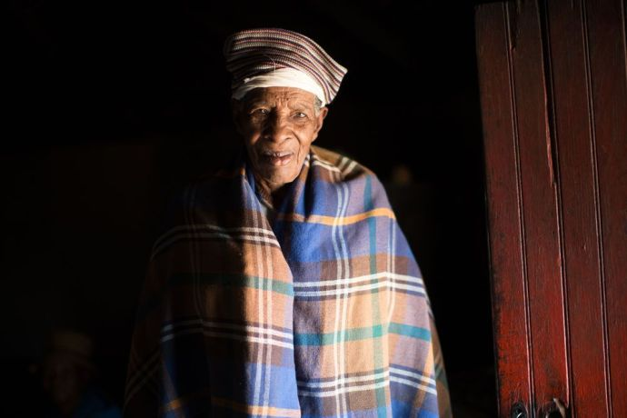 Lesotho: An elderly lady from Lesotho wearing her traditional cloths. More Info
