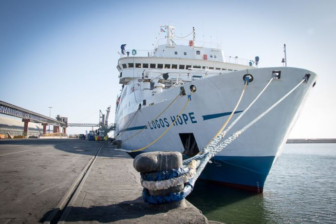 Namibia: Walvis Bay, Namibia :: Logos Hope in port. More Info