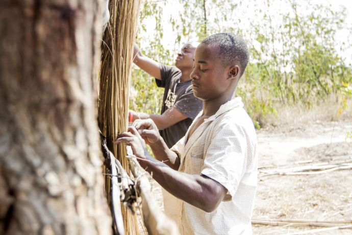 Malawi: OM workers Shadrick (front) and Francis help build a thatched structure in Ntaja, Malawi. More Info