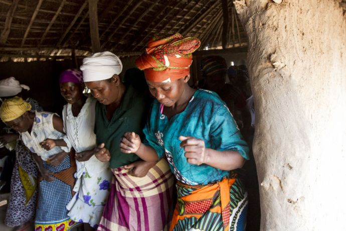 Mozambique: Ladies dance in church in a rural village in Mozambique. More Info