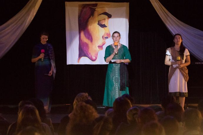 Namibia: Walvis Bay, Namibia :: Crewmembers, Annika Lee (USA) and Camille Vanden Heuvel (USA) dramatise women of the Bible at Women of Faith, an event on board Logos Hope. More Info