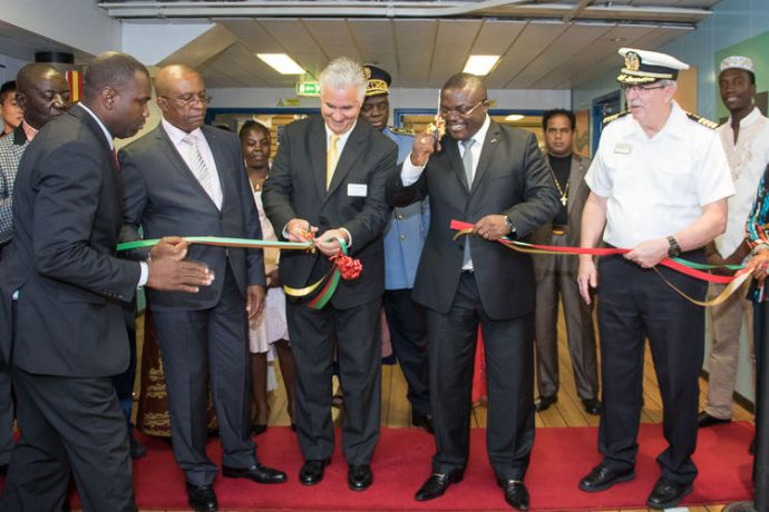 Cameroon: Douala, Cameroon :: His Excellency, Mr. Ivaha Diboua, the governor of Littoral Region, cuts the ribbon to open Logos Hopes book fair. More Info
