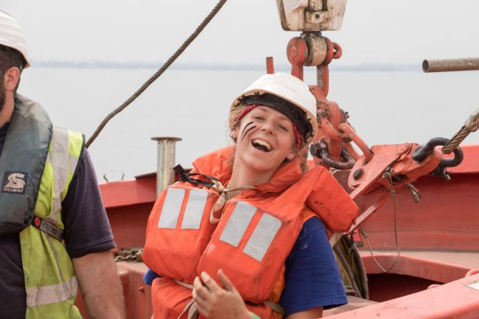 Cameroon: Libreville, Gabon :: Julia Zoerb (Germany) finds humor while doing drills at sea. More Info