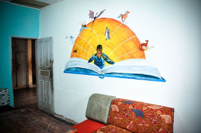 Cameroon: Douala, Cameroon :: Library mural designed by Logos Hopes crewmembers at a home for street kids. More Info