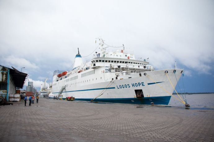 Cameroon: Douala, Cameroon :: Logos Hope at her berth in Douala. More Info
