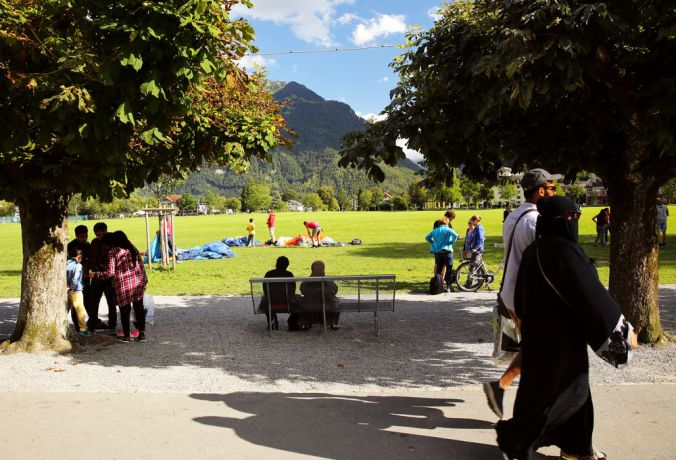 Switzerland: Tourists from all over the world visit Interlaken, Switzerland during the summer.