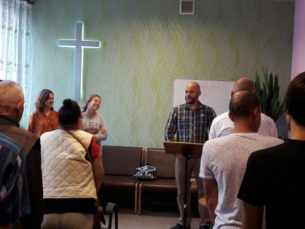 Ukraine: Stefan van der Merwe, preaching in the Sunday service  in Luzanovka church plant, Crossroads in Odessa Ukraine More Info