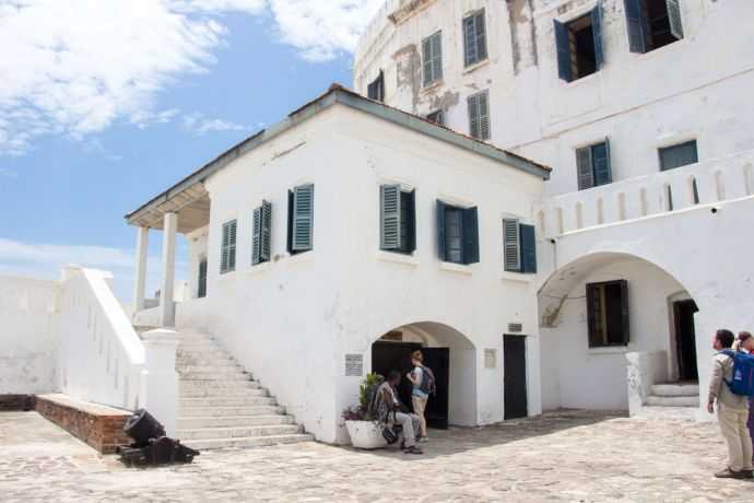 Ghana: Cape Coast, Ghana :: Famous landmark, Cape Coast slave castle where slaves were kept before being bought during the late 16th to early 19th centuries Triangular Slave Trade. More Info