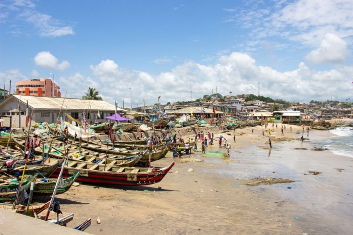 Ghana: Cape Coast, Ghana :: Fishing boats on the beach. More Info