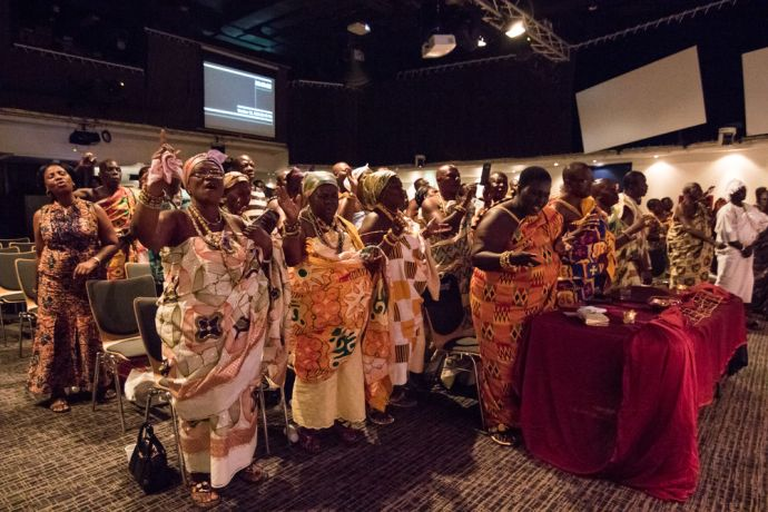 Ghana: Sekondi, Ghana :: Local kings and queens sing songs on board Logos Hope during a special event held for them. More Info