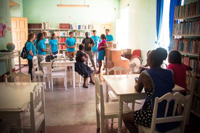 Cape Verde: Praia, Cape Verde :: Logos Hope team donates books to a local library. More Info