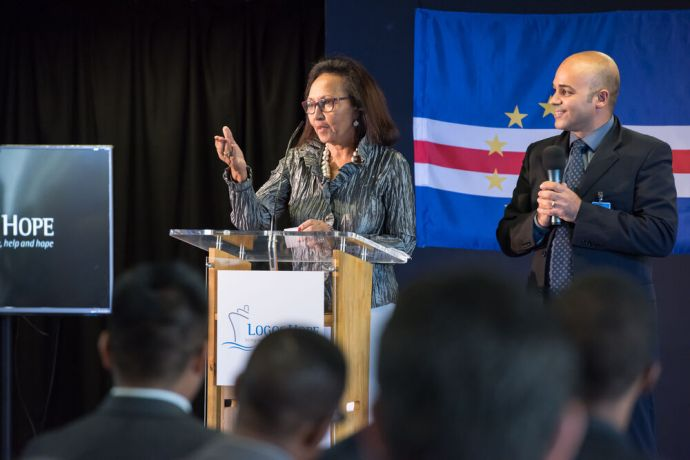 Cape Verde: Mindelo, Cape Verde :: Ilustrissima Senhora Doutora Fernanda Vieira, President of the City Assembly addresses the guest at official opening in Mindelo, Cape Verde. More Info