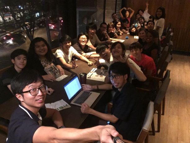 Thailand: This is after meeting supper. Students come to practise speaking English and this is our way to build friendship with them. More Info