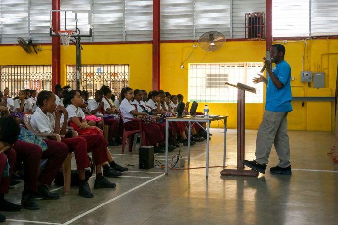 Trinidad & Tobago: Port of Spain, Trinidad  Tobago :: Dennis Kamwela (Zambia) speaks to students of Claxton Bay high school in Trinidad. More Info