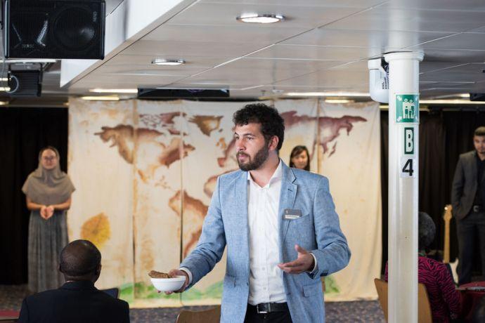 Trinidad & Tobago: Scarborough, Trinidad  Tobago :: Henrik Scharton (Germany) - centre - performs a drama at a pastors conference on board Logos Hope. More Info