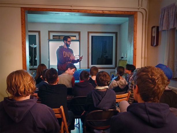 Hungary: Krisztián Tóth, who came to faith through the baseball ministry in Érd, Hungary, shares a Bible lesson with younger baseball players during Three Strikes, the baseball clubs winter youth ministry. More Info
