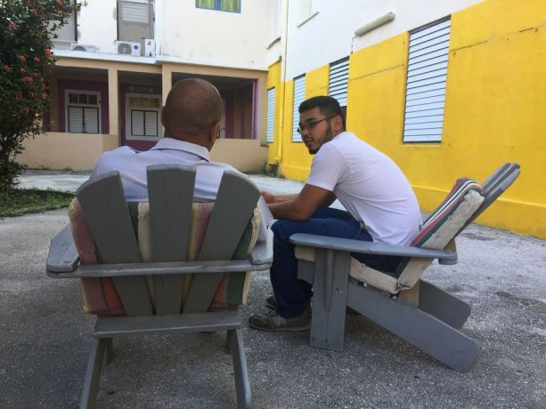Curaçao: Willemstad, Curaçao :: Zair (Central Asia) encourages a man being treated for addiction at a government-run rehabilitation centre. More Info