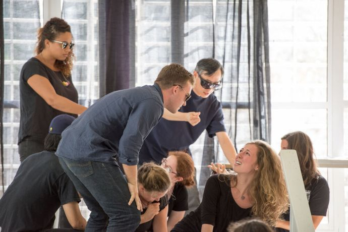 Aruba: Oranjestad, Aruba :: Crewmembers perform a drama during a human trafficking presentation at a high school. More Info