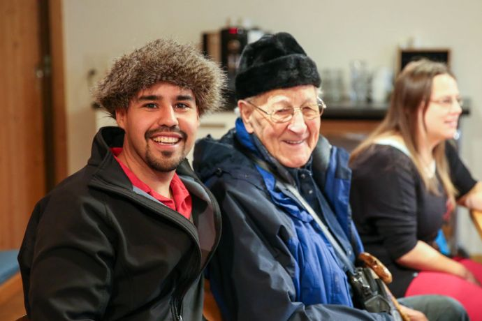 Switzerland: Steve, a member of the Hope for Zurich-team, connects with an elderly man after the Bible study at a local church. Photo by Anja B. More Info