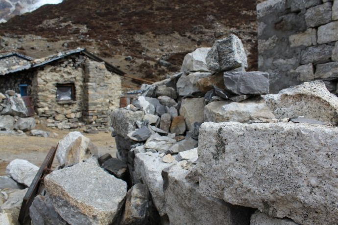Nepal: Homes in the Himalayas are often built out of manually cut stones and had very little mortar or stability to secure them. Many of these were destroyed or severley damaged during the 2015 earthquake in Nepal More Info