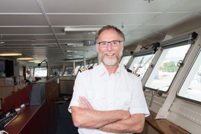 Jamaica: Montego Bay, Jamaica :: Captain Ed Verbeek (Netherlands) on the bridge in Montego Bay. More Info