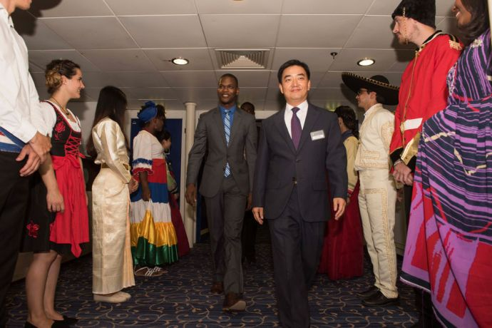 Bahamas: Nassau, The Bahamas :: Logos Hope director Pil-Hun Park and guest of honor Mr. Travis Lamar Robinson, Parliamentary Secretary for the Ministry of Tourism enter the venue on board to officially open the bookfair to the public. More Info