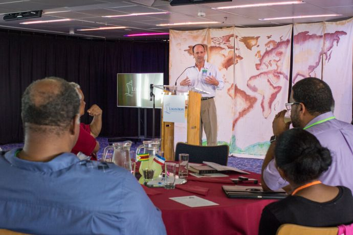 Bahamas: Nassau, The Bahamas :: Daniel Esposito (Argentina) speaks at a pastors conference on board. More Info