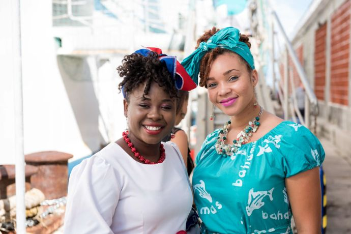 Bahamas: Nassau, The Bahamas :: Vonette Jean (Haiti), left, Shawna Sands (Bahamas), right, in national costume at a gangway bottom during an official opening event. More Info