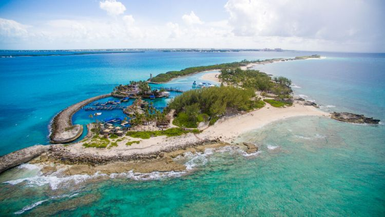 Bahamas: Nassau, The Bahamas :: Aerial view of Blue Lagoon during community outing. More Info