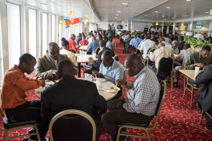 Haiti: Port-au-Prince, Haiti :: More than 300 pastors have lunch in the dining room during a conference on board. More Info