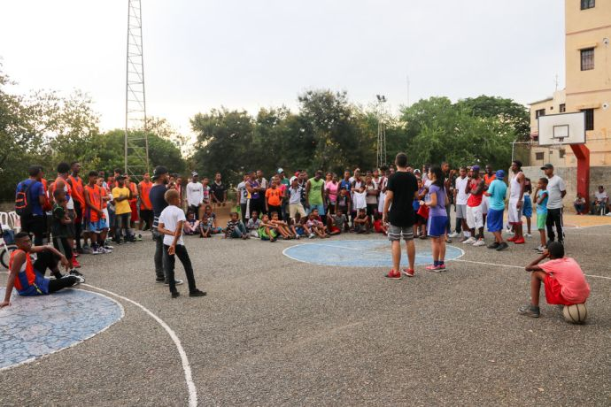 Dominican Republic: Santo Domingo, Dominican Republic :: Crewmembers share the gospel after participating in a basketball tournament. More Info