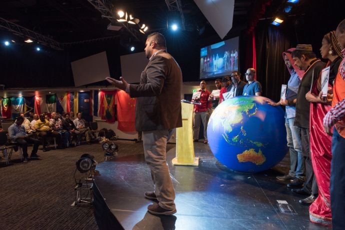 Dominican Republic: Santo Domingo, Dominican Republic :: Alex Paniagua (Costa Rica) talks about world mission during an event on board. More Info