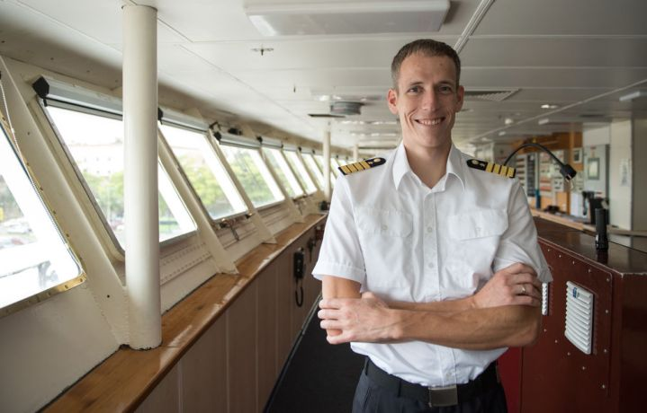 Saint Lucia: Santo Domingo, Dominican Republic :: Captain Samuel Hils (Germany) on Logos Hopes bridge. More Info