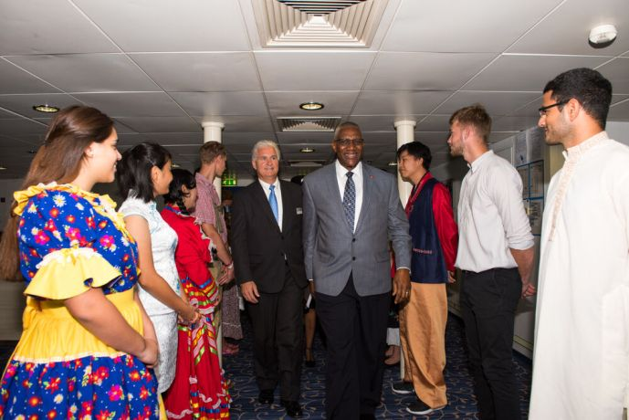 Antigua & Barbuda: St. Johns, Antigua and Barbuda :: Randy Grebe (USA) hosts Sir Rodney Williams the Governor General during an official opening. More Info