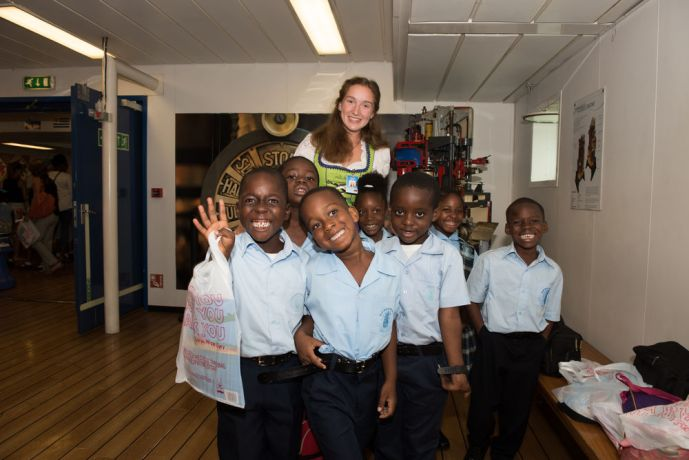 Antigua & Barbuda: St. Johns, Antigua and Barbuda :: Nadine Betz (Germany) with a group of children in the ships small theatre. More Info