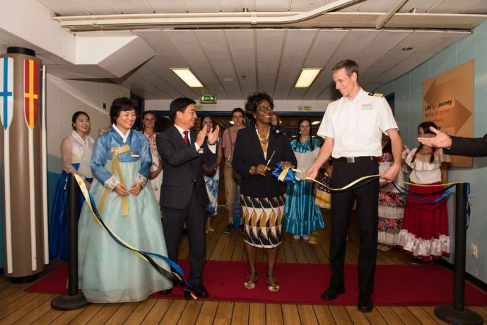 Saint Lucia: Castries, St. Lucia :: Mi-Ae Park (South Korea), Director Pil-Hun Park (South Korea), Governor General of Saint Lucia, Dame Pearlette Louisy and Captain Samuel Hils (Germany) cut the ribbon to officially open the ship to the public. More Info