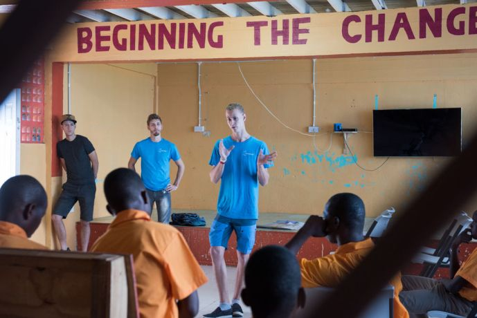 Saint Lucia: Castries, St. Lucia :: Marius Dorn (Germany) shares his story with residents at the St Lucia Training Centre for Boys. More Info