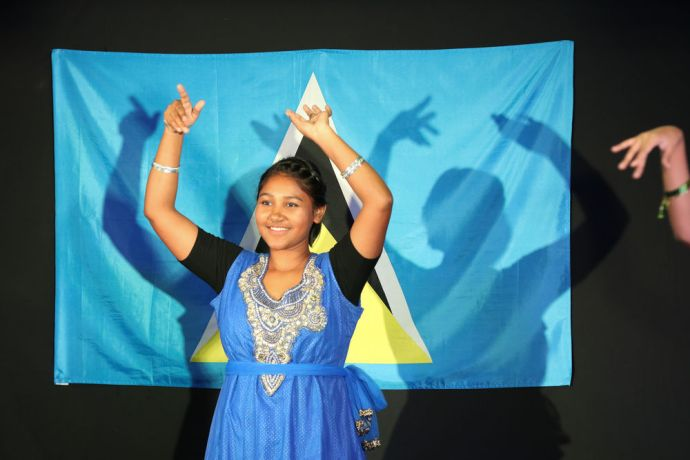 Saint Lucia: Castries, St. Lucia :: Nancy Bhagat (East Asia Pacific) performs a Bollywood dance at the official opening. More Info