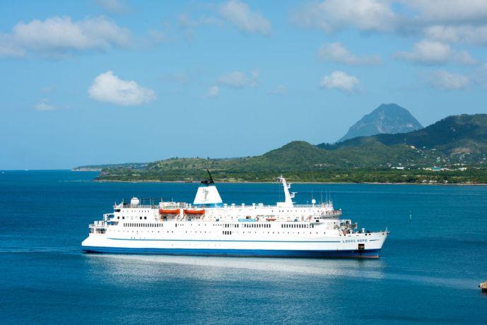 Saint Lucia: Vieux Fort, St. Lucia :: Logos Hope enters the port. More Info
