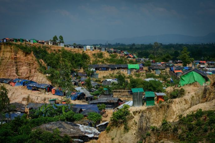 Bangladesh: An overview of a Rohingya refugee camp in Bangladesh, showing temporary shelters and bathrooms.  Photo by Garrett N More Info